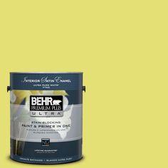 BEHR Premium Plus Ultra 1-gal. #400B-4 Citron Satin Enamel Interior Paint