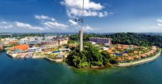 Sentosa Island, Singapore (loads of attractions, restaurants etc.)