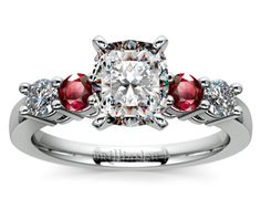 Cushion Round Diamond & Ruby Gemstone Engagement Ring in White Gold  http://www.brilliance.com/engagement-rings/round-diamond-ruby-gemstone-ring-white-gold