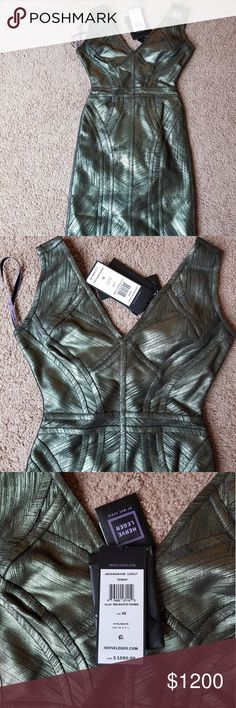 Herve leger dress Metallic green/olive colour Bodycon, fitted cocktail dress  Brand new with tags  Size small Herve Leger Dresses Midi