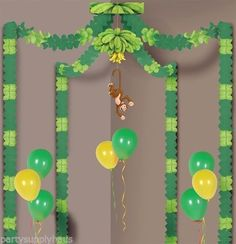 TROPICAL-Jungle-Safari-MONKEY-PARTY-CANOPY-Hanging-Party-Decoration-Birthday