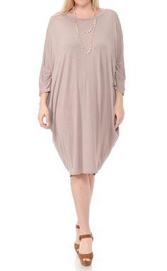 Side Draped Dolman Sleeve Plus Dress