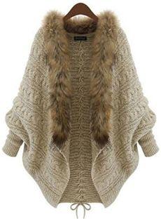 Loose Beige Bat Sleeve Wool Collar Lace-Up Sweater