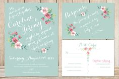 Printable Wedding Invitation and RSVP Card MINT by plpapers