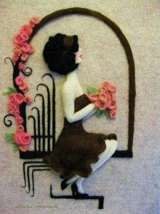 Needle felted relief wall art pieces made by Paulette Carmelita of Alta Loma, California
