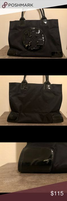 3ef491c73954 Tory Burch Ella Large Tote Large black nylon patent leather tote. Normal  wear and