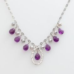 Sterling Silver Amethyst & Dyed Freshwater Cultured Pearl Necklace