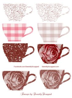 Sweetly Scrapped: Free Teacups Clipart and Digi Printables Also many other clip art images Diy Paper, Paper Crafts, Diy Crafts, Decoupage Paper, Planners, Rose Bonbon, Printable Paper, Printable Crafts, Clipart