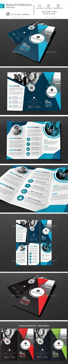 Corporate Tri-Fold Brochure Template PSD. Download here: graphicriver.net/...