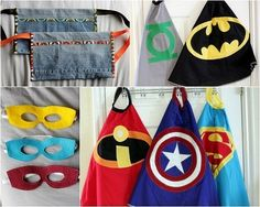 Handmade super hero masks, capes, and tool belts! Looks fun & easy!