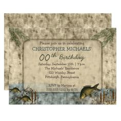 Rustic Fisherman Nature Outdoorsman Birthday Party Card