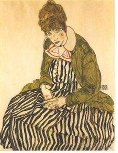 portrait-of-edith-schiele-with-striped-dress-0111.jpg (619×800)