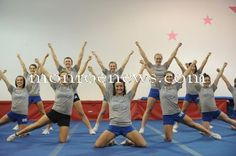 Carlson cheerleaders during a practice in Feb. 2011. Photo by Kim Brent for The Monroe Evening News.