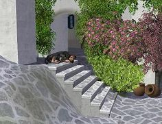 "Mod The Sims - Project ""Sims-Santorini"". Part 9. Set ""Stairs of the old town"""