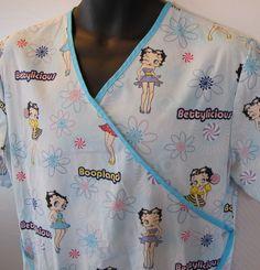 Betty Boop Boopland Bettylicious XL Nurse Scrub Uniform Top Nursing Shirt