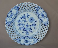 Antique Five Set of 5 Five Meissen Porcelain China Blue Onion Reticulated Plate Plates - Blue and White Porcelain