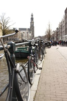 Amsterdam: bikes line every canal and parked by every fence
