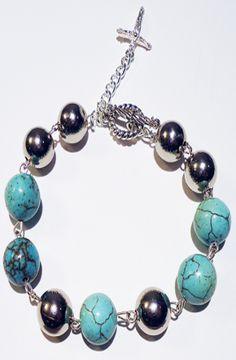 The Turquoise Gemstone Rosary Bracelet w/ Sterling Crucifix by Custom Crystalz, $75.00