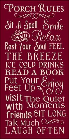Porch Rules Printable Subway Art | PORCH RULES TYPOGRAPHY/SUBWAY STENCIL 12X24