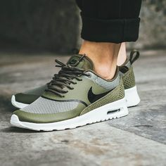 NIKE Wmns Air Max Thea 'Olive & Summit White' - buy womens shoes online, shoes at, best online womens shoes *ad Sneakers Mode, Nike Sneakers, Sneakers Fashion, Fashion Shoes, Ladies Sneakers, Nike Free Shoes, Nike Shoes Outlet, Running Shoes Nike, Mens Running
