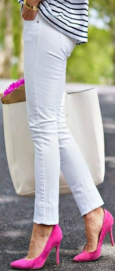 Fuchsia pink heels with white skinnies and striped T-shirt is outfit for the true romantic natures,