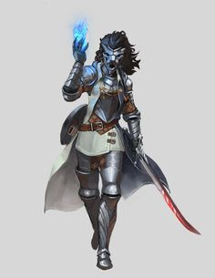 Commission - Half-Elf Eldritch Knight by on DeviantArt Fantasy Character Design, Character Design Inspiration, Character Art, Character Ideas, Fantasy Inspiration, Dnd Characters, Fantasy Characters, Female Characters, Fantasy Heroes