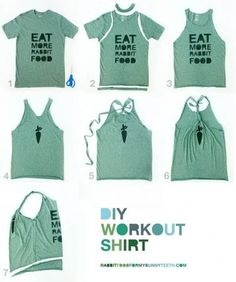 I have a old running shirt from when i did a 5K and nwow it is way to big to wwearr..so going to do this!!!! <3