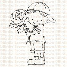 Digital Stamp -- Boy with a rose