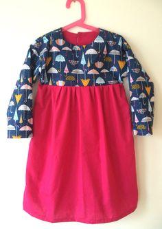Dashwood Studio Rain or Shine Fabric. Oliver + S Playtime Dress Pattern. Ingrid Loxterkamp