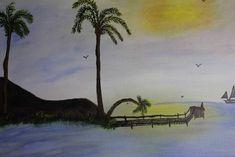 Sea view Hand Painting Art, Acrylic Painting Canvas, Paint Types, Custom Paint, Hand Painted, Sea, Artwork, Art Work, Work Of Art