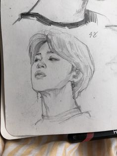 """I had to stop drawing on both side of the paper bc of this sorta mess :') Kpop Drawings, Art Drawings Sketches Simple, Pencil Art Drawings, Drawing Tips, Drawing Faces, Pencil Sketching, Realistic Drawings, Sketch Drawing, Kpop Fanart"