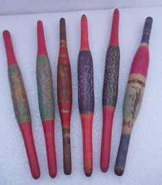 Lot of 6 Old Vintage Lacquered Wooden Rolling Pins Chapati Bread Rollers | eBay