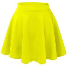 MBJ Womens Basic Versatile Stretchy Flared Skater Skirt (£8.32) ❤ liked on Polyvore featuring skirts, bottoms, saias, gonne, yellow skater skirt, circle skirt, stretchy skirt, flare skirt and stretch skirt