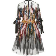 Elie Saab Short Embroidered Dress (€6.880) ❤ liked on Polyvore featuring dresses, embellished dress, short length dresses, three quarter length sleeve dresses, embellished short dress and elie saab