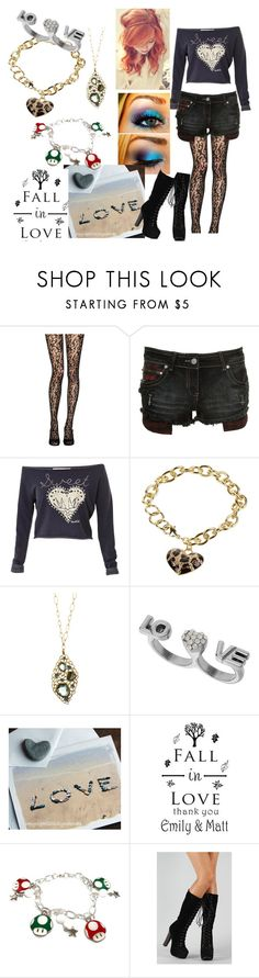 """Love is a Strong Feeling"" by lamenk99 ❤ liked on Polyvore featuring Jonathan Aston, Crafted, GUESS, Alexis Bittar, Miss Selfridge, INDIE HAIR, chain necklaces, lace tights, off-the-shoulder top and blue eye makeup"