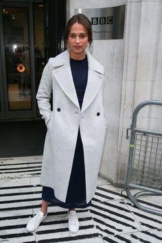 Alicia Vikander in Victoria Beckham and Club Monaco's Daylina coat.
