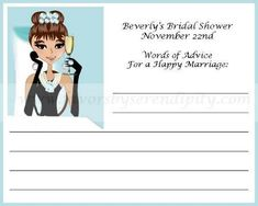 "Breakfast At Tiffany Personalized Bridal Shower Advice Card.....change for a birthday party...""words of advice for a happy life"""