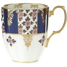 Royal Albert 100 Years 1900 Regency Blue Mug ($30) ❤ liked on Polyvore featuring home, kitchen & dining, drinkware, floral mug, royal albert, blue mug and blue drinkware