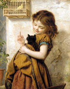 """Pre-Raphaelite Painting:  """"Her Favorite Pets,"""" by Sophie Gengembre Anderson (French, 1823 - 1903). #Pre-Raphaelite."""