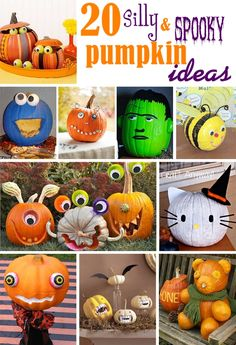 Decorate your Halloween pumpkins with one of these 20 Silly & Spooky Non -Scary pumpkin decorating ideas. Complied by The Celebration Shoppe.