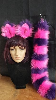 Cheshire Cat ears and tail, with wrist cuffs and leg fluffies as additional option Amazing Halloween Costumes, Cat Costumes, Couple Costumes, Halloween 2017, Halloween Ideas, Costume Ideas, Cat Ears And Tail, Cheshire Cat Costume, Tutu Rock