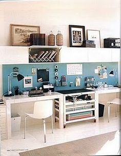 just looks clean and organised and I like the idea of frames above the work place