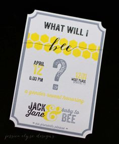Bee Gender Reveal Party Invitation, What Will I BEE? - Etsy, by JessicaElyseDesigns, $25.00 for 25 party invitations
