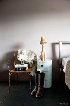Abigail Ahern's Place in London | Afflante.com  Kartell white storage piece as nightstand
