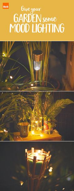 Turn your garden in to a boho glam wonderland with some gorgeous garden lights. Put solar lights in plant pots, try out our fairy lights bottle DIY and hang festoon lights EVERYWHERE for romantic ambience. Balcony Design, Garden Design, Outdoor Lighting, Outdoor Decor, Lighting Ideas, Solar Lights, Fairy Lights, Mood Light, Garden Projects