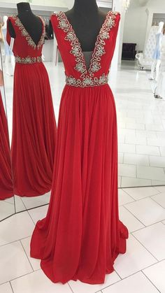 Red v neck chiffon beads long prom dress, red evening dress