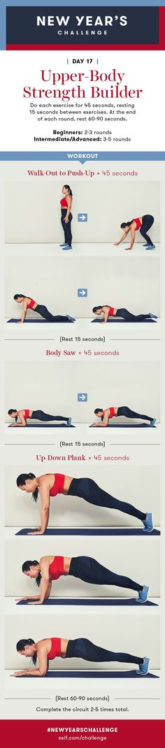 Upper-Body Strength Builder Workout: New Year's Challenge - Day 17 - Site Title Upper Body Dumbbell Workout, Upper Body Strength Workout, Strength Training, Workout Days, Workout Challenge, Circuit Workouts, Fitness Workouts, Workout Motivation, Cleaning Workout