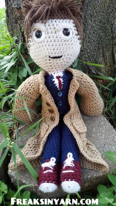 """Meet the newest addition to my shop, The Time Traveler crochet pattern. When finished he stands 20"""" tall!  you can also place a custom order if you'd like a finished doll!   https://www.etsy.com/listing/198651183/the-time-traveler-crochet-pattern-only  Or www.ravelry.com/stores/freaksinyarn  #mmmakers #freaksinyarn #crochet #timetravel"""