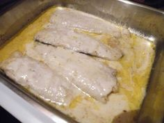 Hake(Or any white fish of your choice) Butter Fish Spice Lemon Juice (Fresh or Bottle) Garlic crushed (To your taste) Blue Cheese Salad Dressing Put your oven on grill, put some butter in an ov…