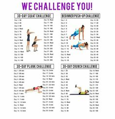 Plank, Push Up, Squat, Crunch 30 day challenge! Id need to at least double the pushups#crossfit #wod #workout #challange #30day challange #fit #fatloss #crossfitchallange #squat #crunches #push-ups #plank
